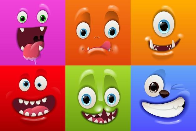 Máscaras de rosto assustador com boca e olhos de emoticon de monstros alienígenas