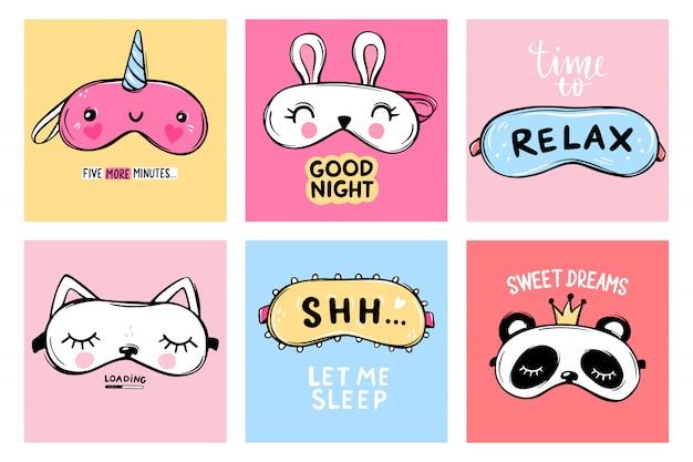 Máscaras de sono e citações.