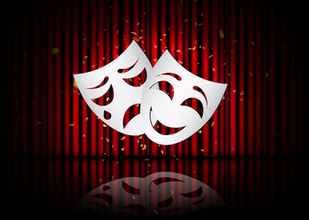Máscaras de teatro feliz e triste, cena teatral com cortinas vermelhas e reflexão. ilustração.