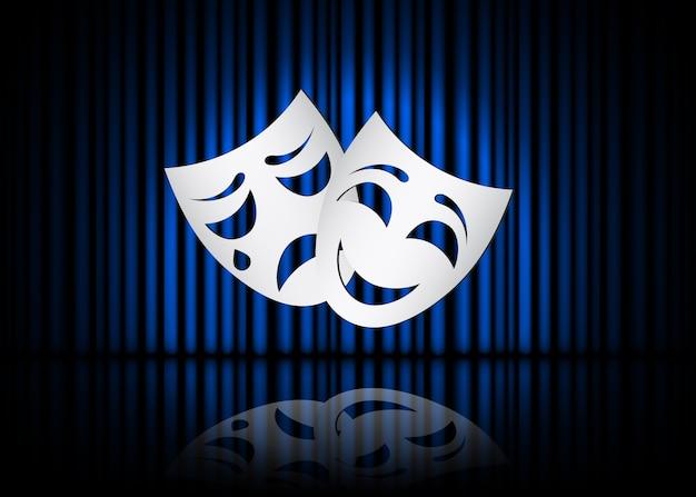 Máscaras de teatro felizes e tristes, cena teatral com cortinas azuis e reflexão. ilustração.