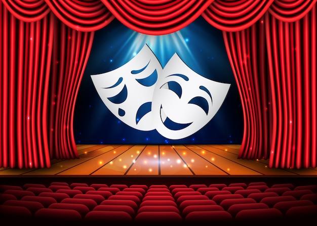 Máscaras de teatro felizes e tristes, cena teatral com cortinas vermelhas. ilustração.