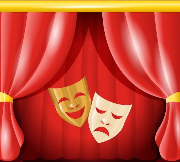 Máscaras de teatro no pano de fundo