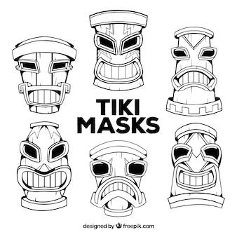 Máscaras de tiki étnicas tiradas mão