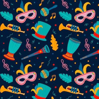 Máscaras desenhadas à mão padrão de carnaval brasileiro