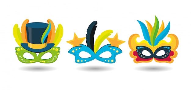 Máscaras do festival de carnaval do brasil