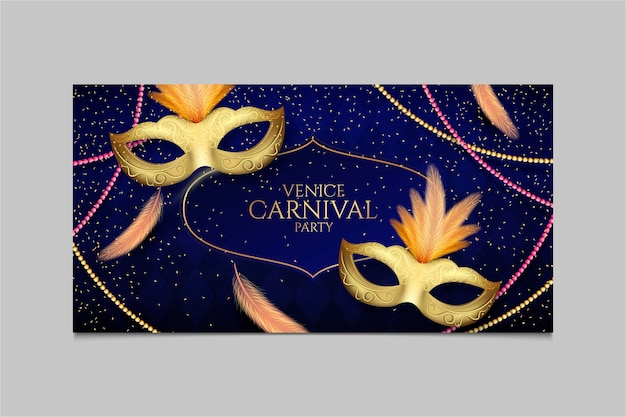 Máscaras douradas com banner de penas de carnaval veneziano Vetor grátis