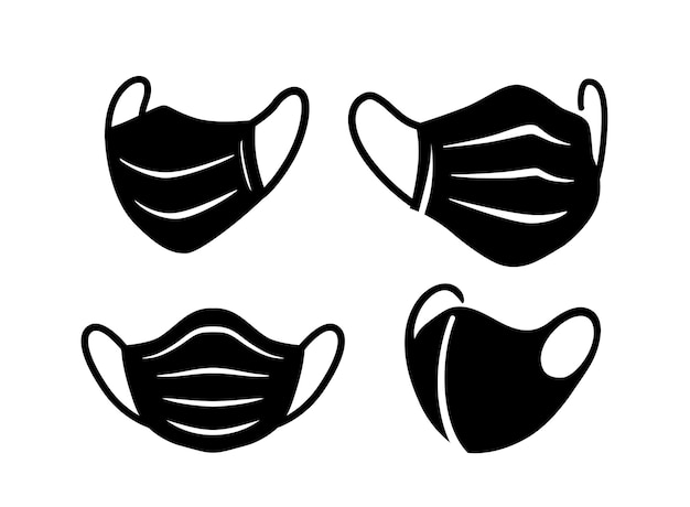 Máscaras faciais cirúrgicas pretas com proteção antivírus