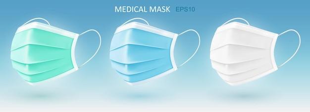 Máscaras faciais médicas realistas ilustração 3d isolada do vetor. máscara respiratória médica respiratória descartável. covid-19, proteção contra doenças e poluição.