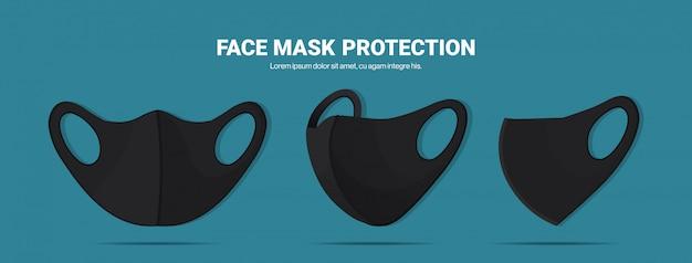 Máscaras faciais respiratórias médicas antivirais pretas proteção contra prevenção de vírus de coronavírus covid-19