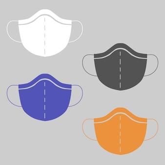 Máscaras médicas isoladas em fundo cinza cuidados de saúde e conceito cirúrgico proteção contra coronavírus