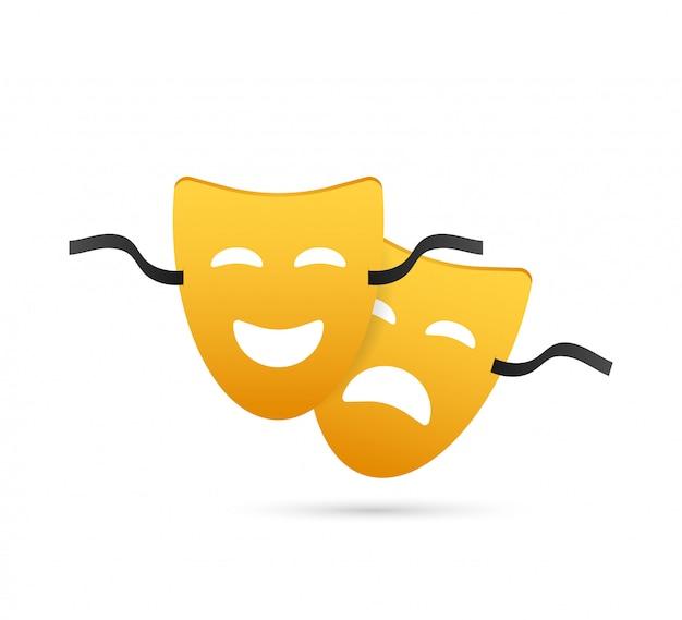 Máscaras teatrais de comédia e tragédia.