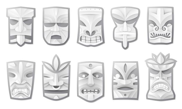 Máscaras tiki com corte de papel
