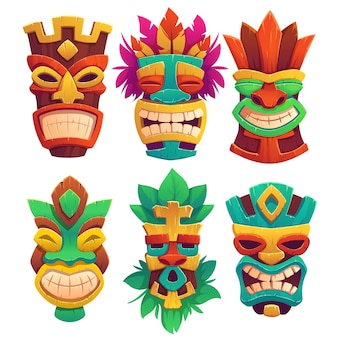 Máscaras tiki, totens tribais de madeira, atributos de estilo havaiano ou polinésio, rostos assustadores com boca cheia de dentes