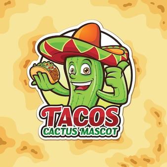 Mascot cactus tacos logo design