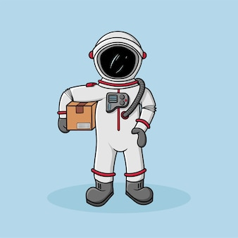 Mascot express courier astronout frete ordem free vector