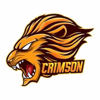 Mascot logo lion carmesim