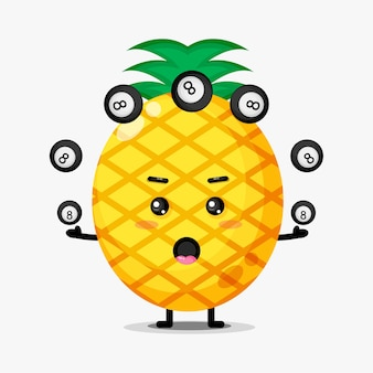 Mascote abacaxi fofo jogando bola de bilhar