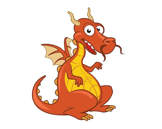 Mascote amigável dos desenhos animados do dragão