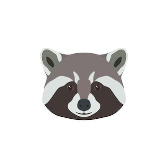 Mascote animal com cabeça de guaxinim selvagem