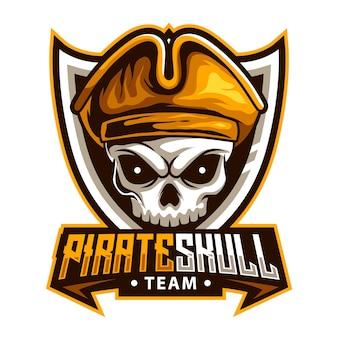 Mascote animal com cabeça de pirata e crânio para ilustração vetorial de logotipo de esportes e esportes esportivos