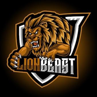 Mascote animal do lion beast e logo jogos de logotipo