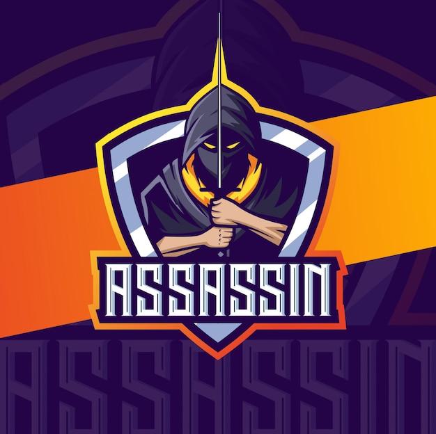Mascote assassino com design de logotipo esport espada