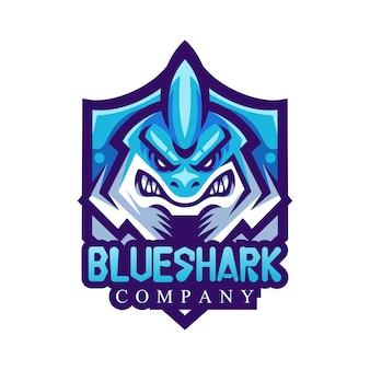 Mascote blue shark para logotipo da equipe esportiva