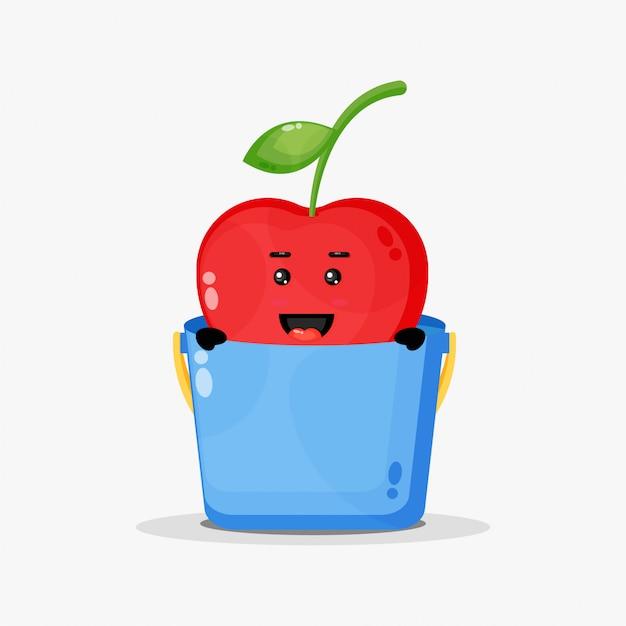 Mascote bonito de cereja em um balde