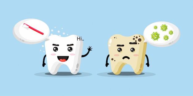 Mascote bonito dentes limpos e cáries