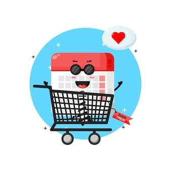 Mascote bonito do calendário no carrinho de compras com desconto na sexta-feira negra
