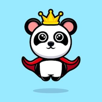 Mascote bonito do desenho animado do panda rei
