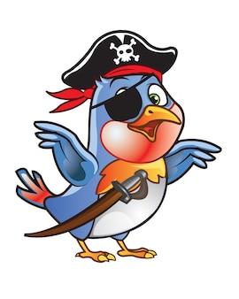 Mascote bonito dos desenhos animados do pássaro do pirata