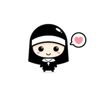 Mascote bonito freira