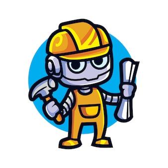 Mascote bot de arsitect dos desenhos animados
