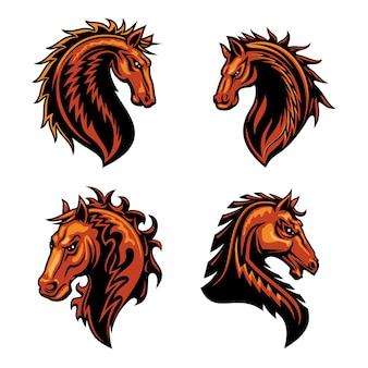 Mascote cabeça de cavalo de fogo com garanhão mustang selvagem marrom
