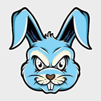 Mascote cabeça de coelho com raiva