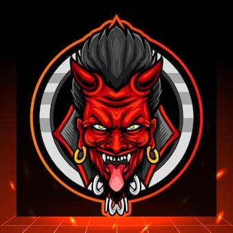 Mascote cabeça de diabo vermelho