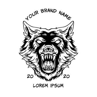 Mascote cabeça de lobo preto e branco