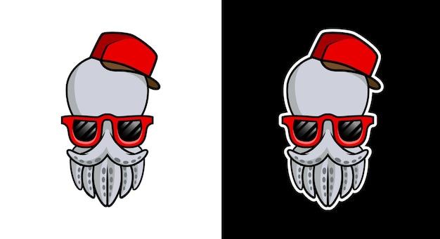 Mascote cabeça de polvo legal