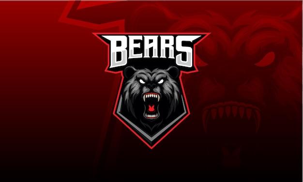 Mascote cabeça de urso zangado