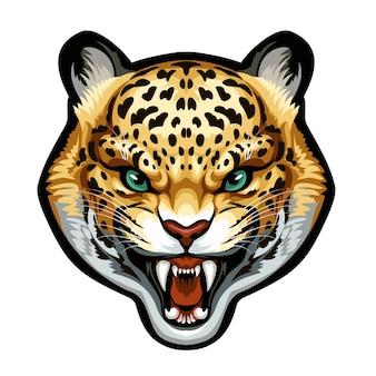 Mascote. cabeça de vetor de leopardo isolada