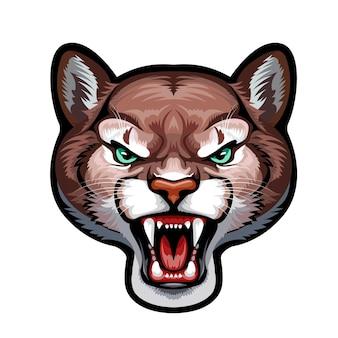 Mascote. cabeça de vetor de puma isolada