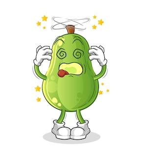Mascote cabeça tonta de abacate. vetor de desenho animado