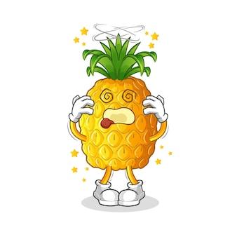 Mascote cabeça tonta de abacaxi