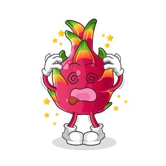 Mascote cabeça tonta de pimenta. desenho animado