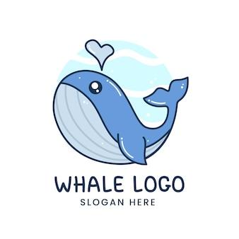 Mascote com logotipo de baleia fofa e splash