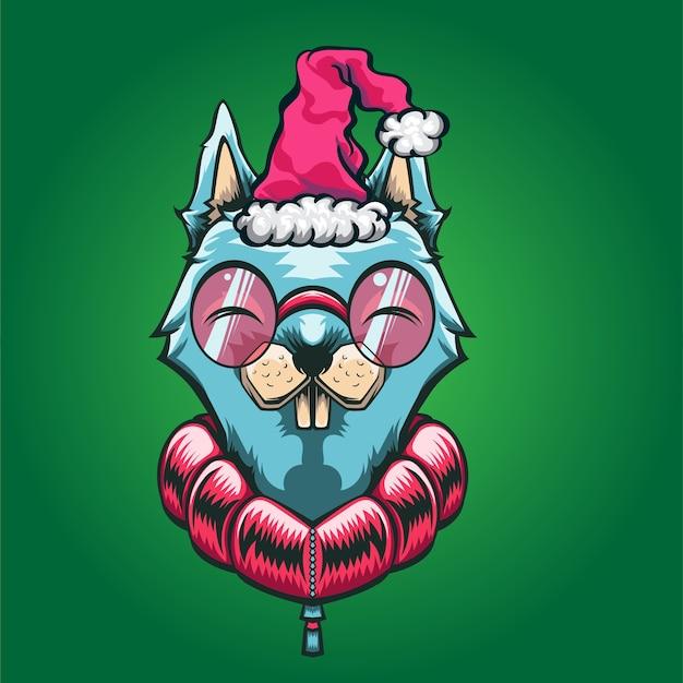Mascote com logotipo de natal de cachorro azul bonito de desenho animado