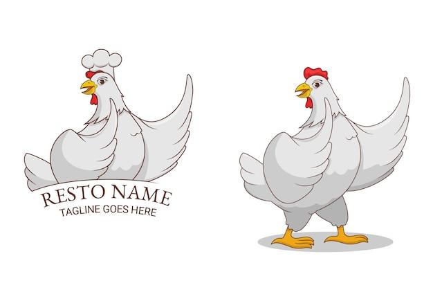 Mascote com personagem de galinha branca
