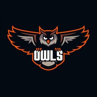 Mascote coruja para logotipo de esportes e esports isolado