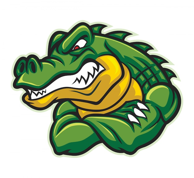 Mascote crocodilo mostra seu braço muscular